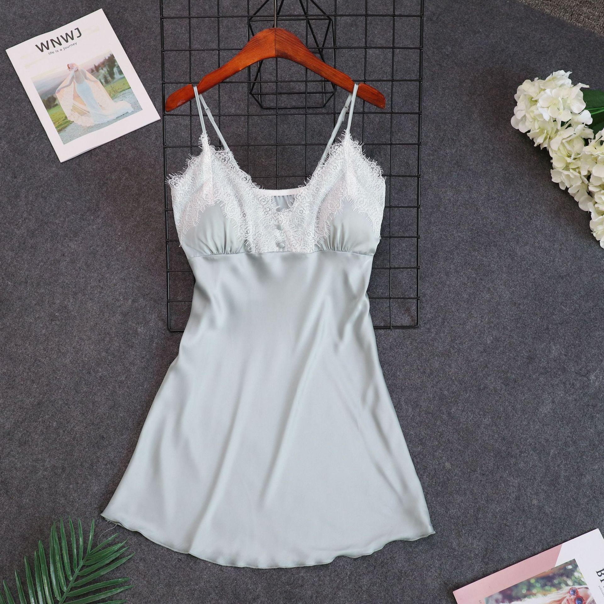 Ladies Sexy Silk Satin   Nightgown   Sleeveless Nightdress V-neck   Sleepshirt   Lace Nighties Summer SLeep Dress Night Dress For Women