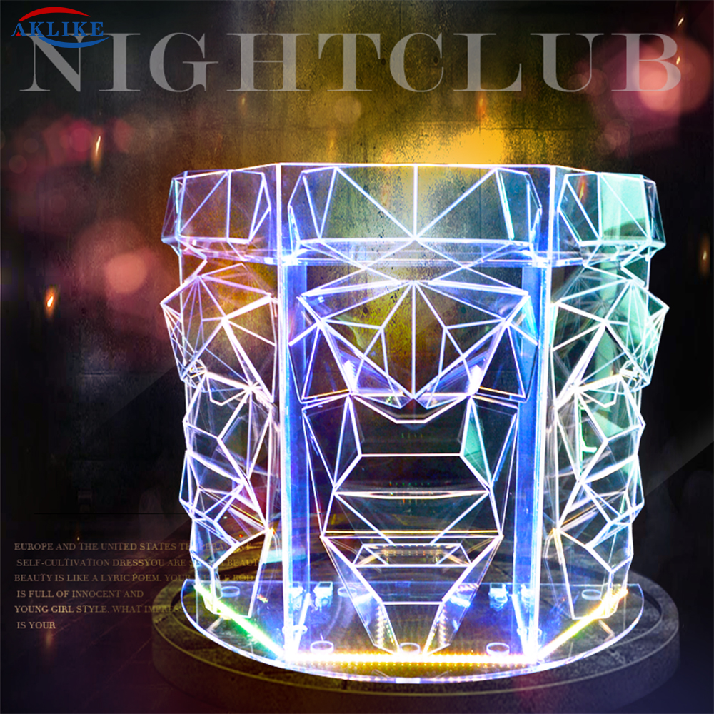 Acrylic A <font><b>Bar</b></font> Table The Discs Dj mixer <font><b>LED</b></font> Light Pioneer AKLIKE Controller  Dj Stand Console Table Colorful Lighting <font><b>Counter</b></font> image