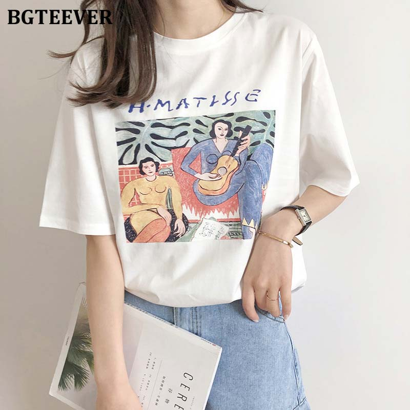 BGTEEVER Fashion O-neck Short Tee Women Cotton Characters Letter Printed T-shirts Female 2020 Summer Loose Casual Shirts Tops