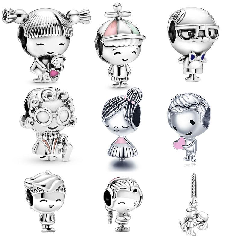 925 Sterling Silver Little Boy & Little Girl Charm Fit Original 3mm Bracelet&Bangle Making Fashion DIY Jewelry For Women