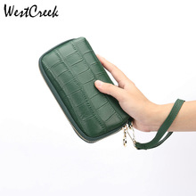 Fashion Genuine Leather Stone Pattern Women Large Capacity wallets Package Female Wristband Coin Purse Phone Bag
