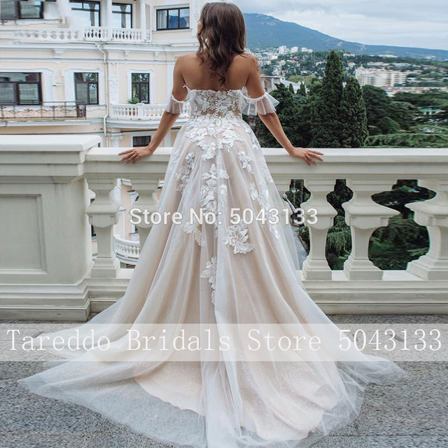 Sexy Sweetheart A Line Lace Appliques Wedding Dresses Off Shoulder Chic Sleeveless Tulle Wedding Gowns Formal Bride Dress 2020 2