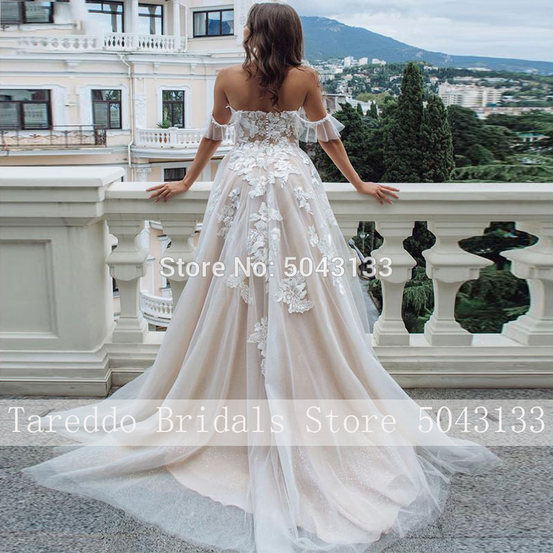 Ultimate SaleBride Dress Tulle Lace Appliques Sweetheart Chic Formal Sexy Off-Shoulder Sleeveless