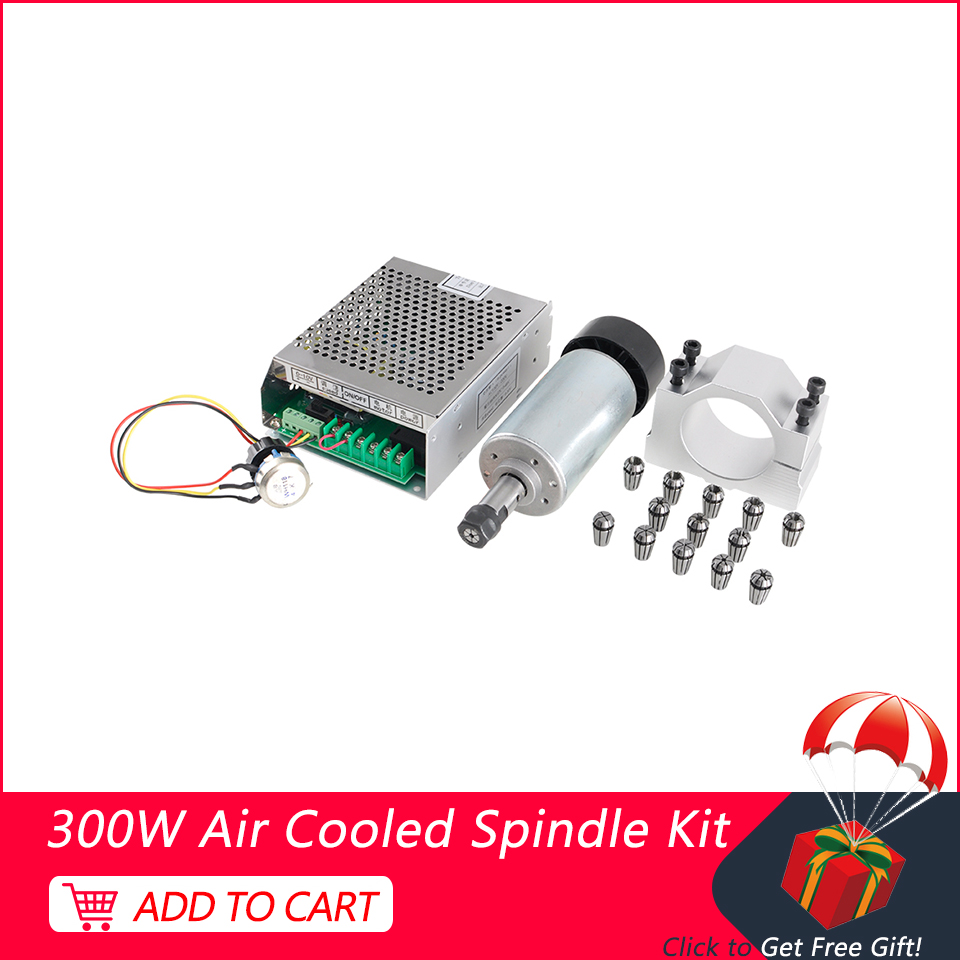 300W CNC Spindle Motor ER11 Air Cooled Spindle Router Kit +Mach3 Power Supply +52mm Clamp+13PCS ER11 Collet For Engraver Machine
