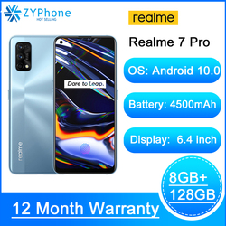 Realme 7 Pro 6,4 ''FHD + 8GB 128GB смартфон 65 Вт SuperDart зарядка 10V/6.5A 64MP полноэкранный Octa Core 4500 мАч мобильный телефонный звонок 7