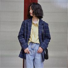 Женские Синие Клетчатые костюмы куртки Осень зима английский