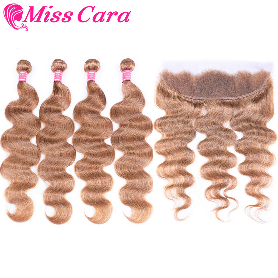 Miss Cara Blonde 3 Bundles With Frontal #27 Peruvian Body Wave Human Hair Lace Frontal Closure With Bundles Remy Hair Extension