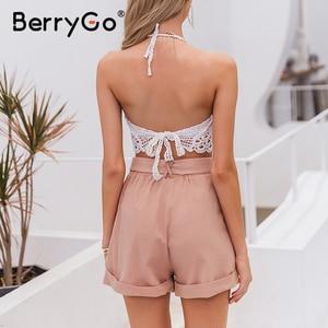 Image 4 - Berrygoカジュアルピンク女性ハイウエスト中空ボタン綿 2020 春夏パーティー女性ショートセクシーショーツ