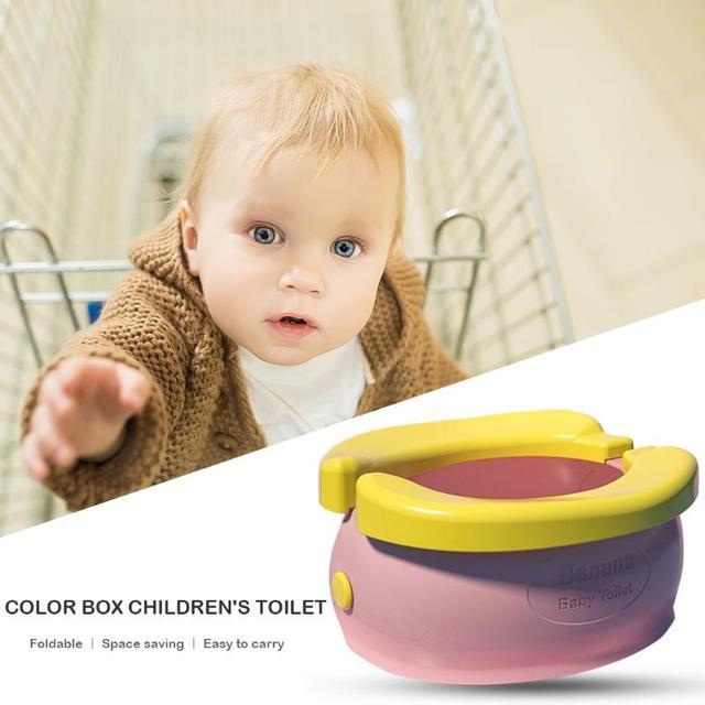 Portable Baby Infant Chamber Pots Cartoon Banana Foldaway Toilet Training Seat Travel Potty Rings For Kids | Happy Baby Mama