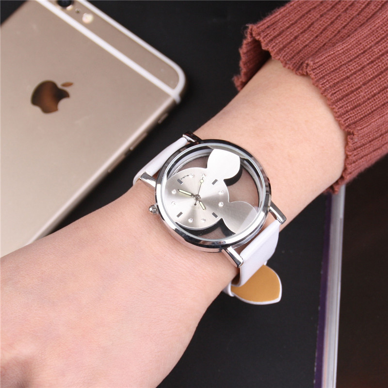 2019 Mickey Mouse Watch Double-sided Hollowed Mickey Watch Mickey Mouse Children's Watch Montre Homme Horloges Vrouwen