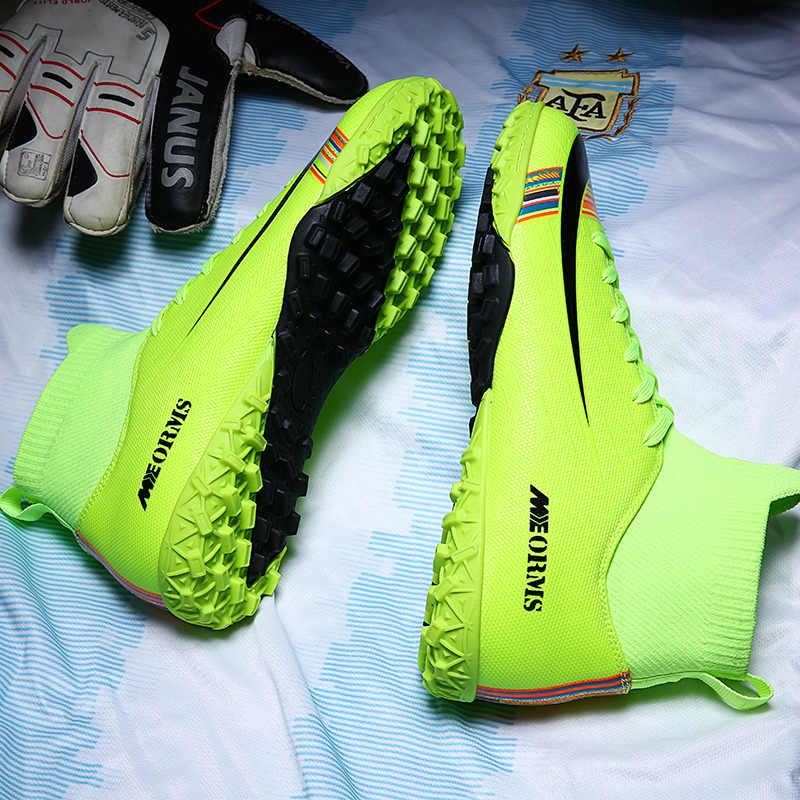 Erkekler futbol futbol kramponları kramponlar çizmeler ayak bileği uzun sivri TF sivri yüksek Top Sneakers yumuşak kapalı çim Futsal çocuk futbol ayakkabıları