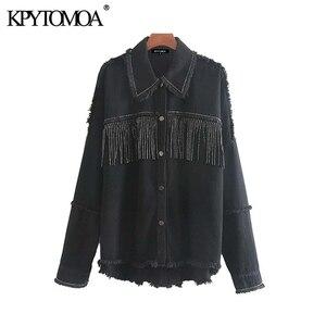Image 5 - KPYTOMOA Women Fashion Tassel Beaded Oversized Denim Jacket Coat Women Vintage Long Sleeve Frayed Hem Female Outerwear Chic Tops