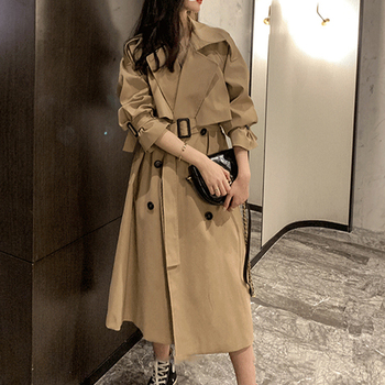 2020 Autumn Long trench coat Women Classic Loose Double breasted long coat with belt harajuku Outerwear trench Windbreaker casual style new spring autumn long women trench coat double breasted with belt loose coat lady outerwear fashion