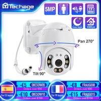 Techage-cámara de seguridad IP POE de 5MP para exteriores, videocámara domo PTZ de 1080P, detección humana de IA, Audio bidireccional, cámara XMEye con tarjeta TF