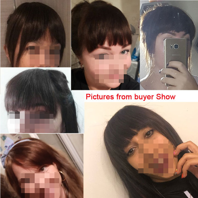 SEGO Straight 3 Clip-in Human Blunt Bangs Sweeping Side Bangs Front Hair Fringes Non-Remy 100% Human Hair  Black Brown Blond 6