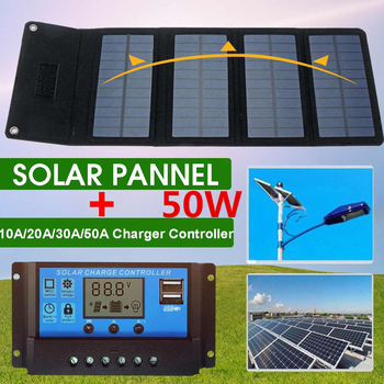 50W Solar Panel 5V USB with Car Charger + 10/20/30/50A USB Solar Cell Charger for Car RV Battery Camping Mobile Power Bank 1