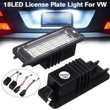 2pcs Universal 12V 18 LED Car Number License Tail Plate Lights Light Bulb For VW GOLF 4 5 6 7 6R Passat B6 Lupo Scirocco Polo