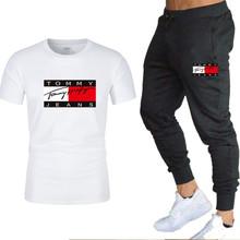 2021 letnia koszulka i spodnie dwuczęściowy męski strój sportowy na co dzień tide marka sportowa czysta modna bawełniana odzież męska tanie tanio CN (pochodzenie) Daily COTTON Na wiosnę i lato