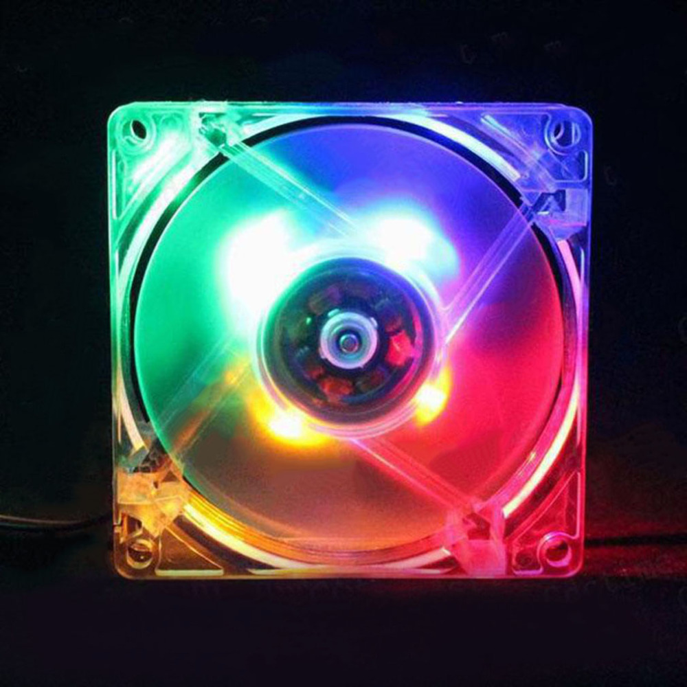Computer PC Fan 80mm With LED 8025 Silent Cooling Fan 12V LED Luminous Chass Computer Case Cooling Fan Mod Easy Installed
