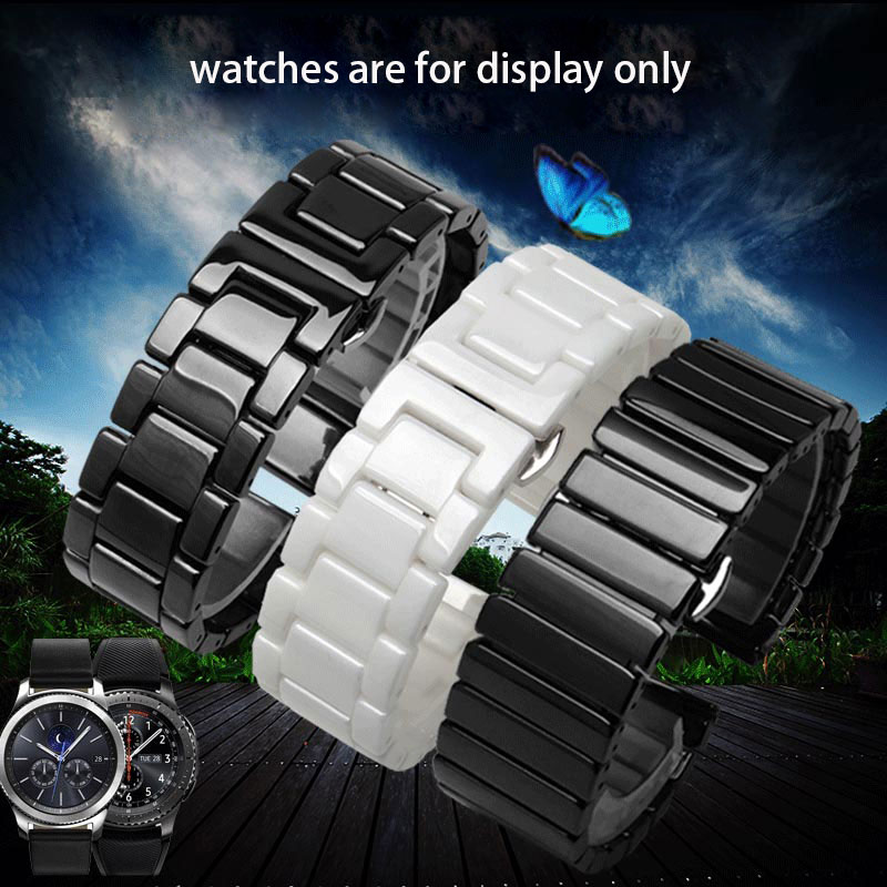 20mm 22mm Pearl ceramics watchband black white bracelet fit Samsung Galaxy Watch Gear S3 S2 sport S4 smart watch accessories image