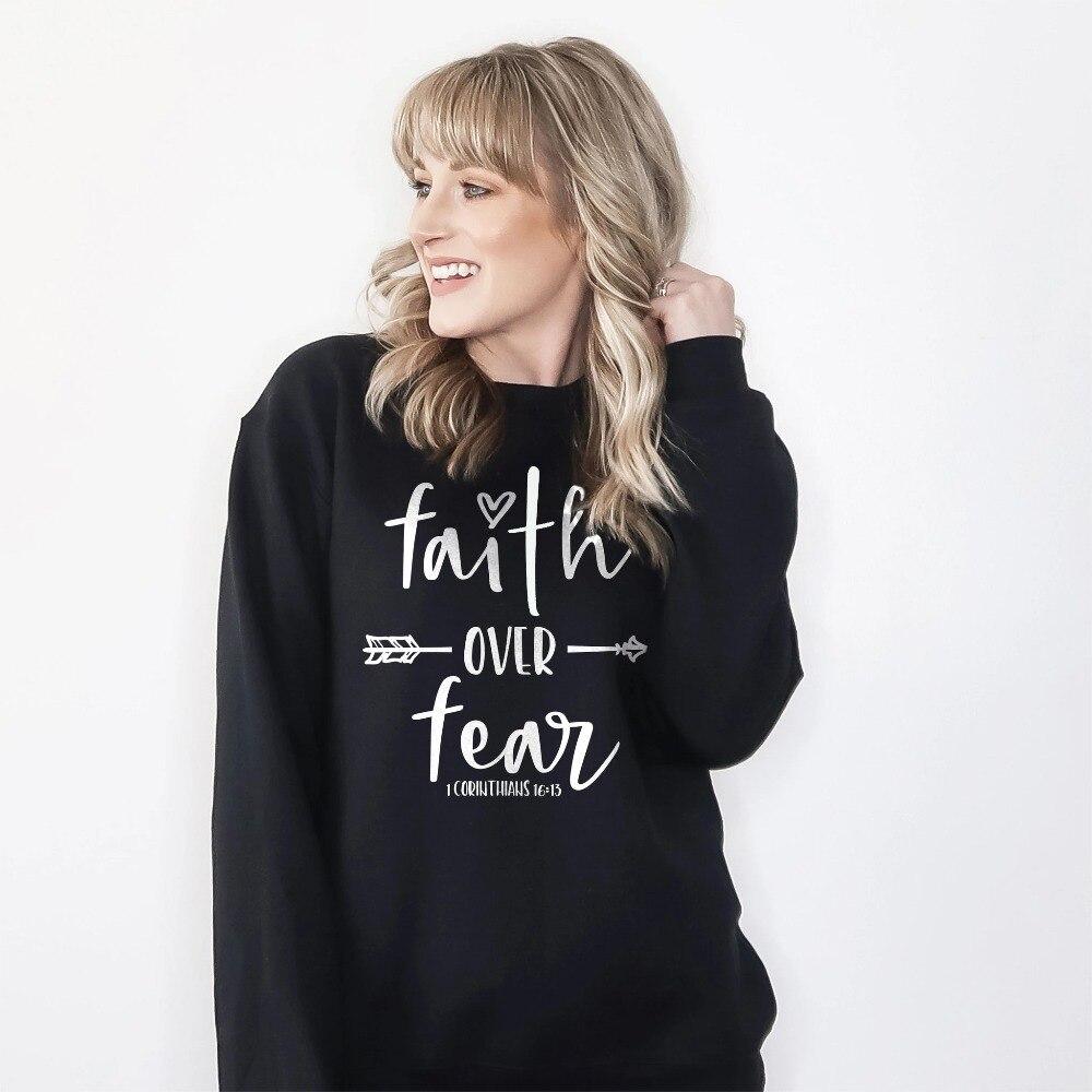 Faith Over Fear Sweatshirts Christian Faith Can Move Mountains Women Clothing Aesthetic Jesus Streetwear Girl Pullover Drop Ship