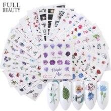 24 шт акварельные цветочные наклейки для ногтей набор Фламинго Письмо Дизайн гель маникюр декор вода слайдер фольга CHSTZ683-706-1