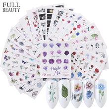 24pcs Watercolor Floral Flower Sticker Nail Decal Set Flamingo Letter Design Gel Manicure Decor Water Slider Foil CHSTZ683-706-1(China)
