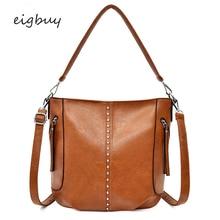 купить Fashion Rivet Handbags Women High Quality PU Leather Messager Bags Female Casual Tote Ladies Bag Crossbody Bags For Women Sac дешево