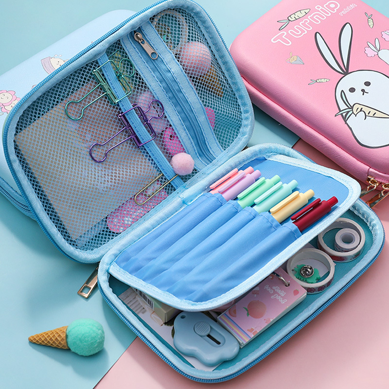 Rabbit Carrot Large Capacity Waterproof EVA Pencil Case Stationery Storage Bag Escalar Papelaria Escolar School Supplies