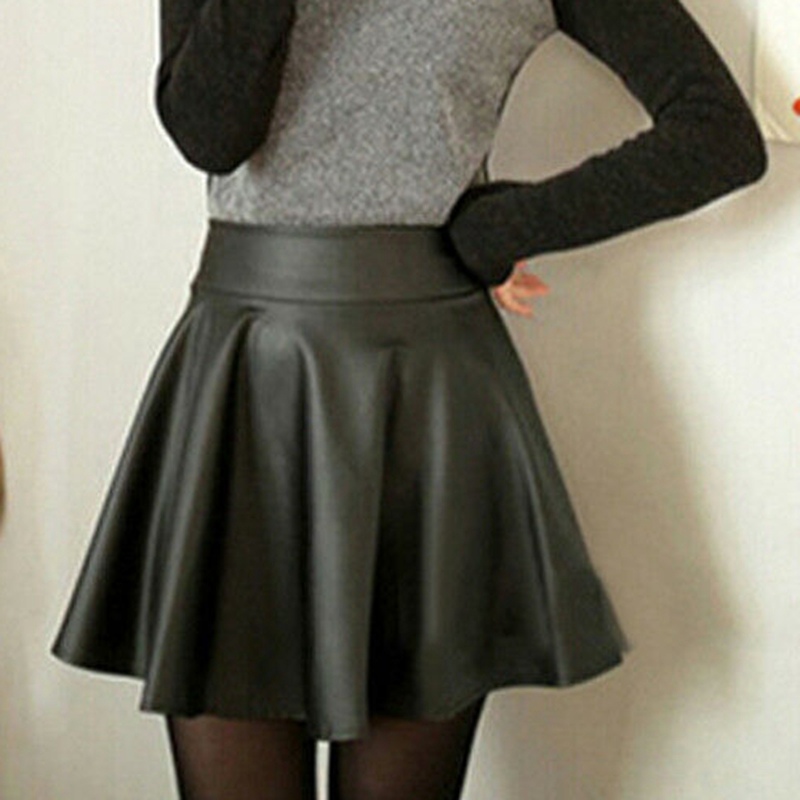 Fashion Women High Waist Pleated Short Mini Faux Leather Skirt