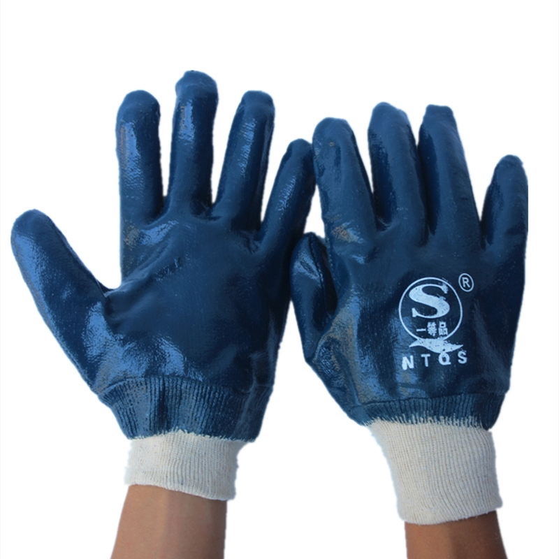 Nitrile Gloves Dark Blue Thicken Rubber Glove Waterproof Oil Resistant for Gas Station Working Safety Protection Safety Gloves