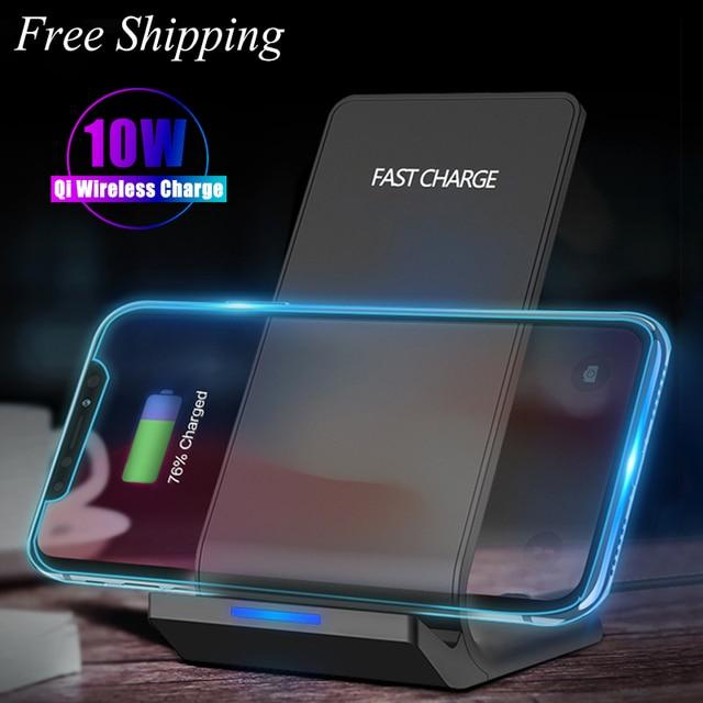 10W Caricatore Senza Fili per Samsung Galaxy Note 10 S10 S9 Wireless Veloce di Ricarica Del Supporto Del Basamento per il iPhone 11 X xs Max 8 Plus Adattatore