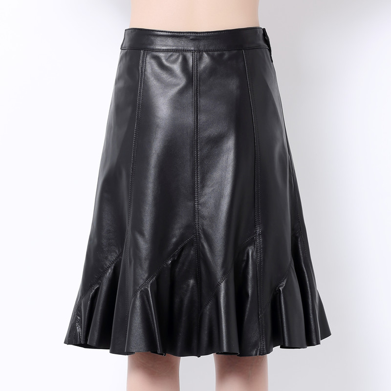 Elegant Genuine Leather Skirts Women High Waist Black Real Sheepskin Ruffle Design Office Ladies Midi Skirts Female Plus Size