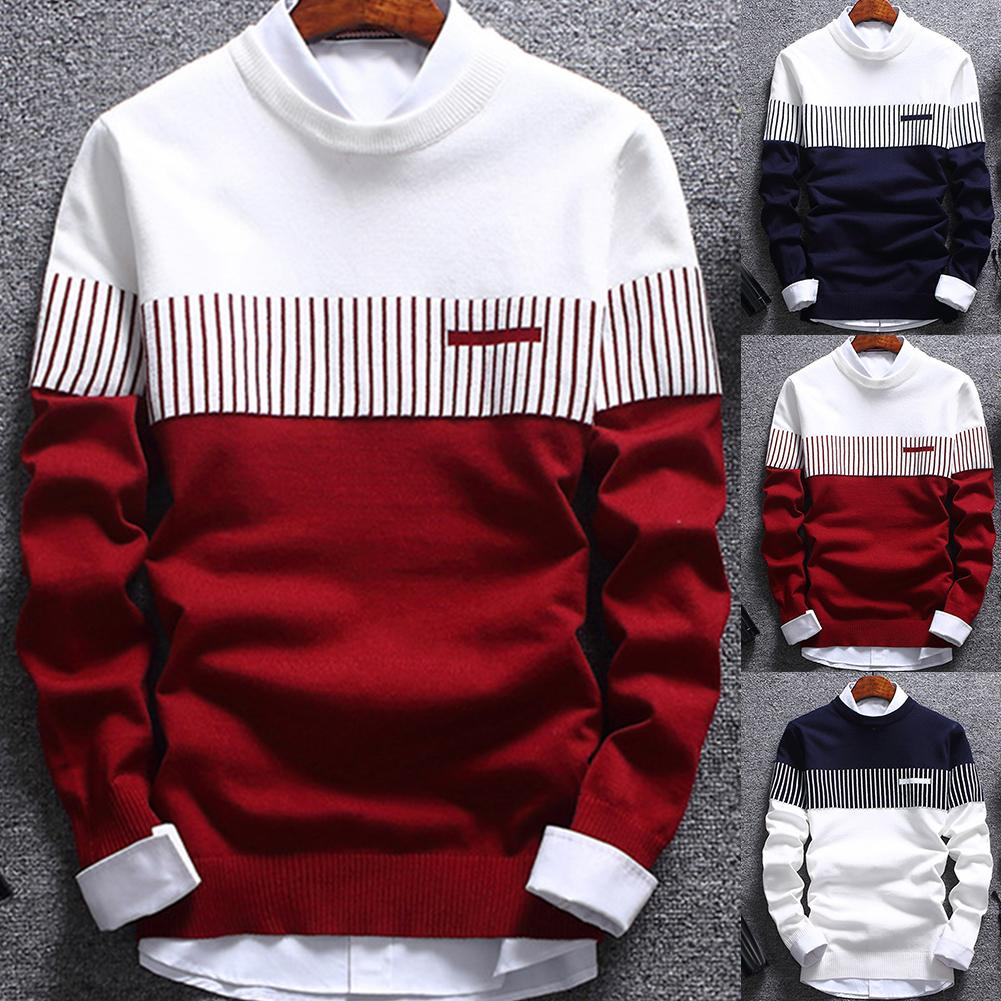2020 Men Striped Sweater Pullover Color Block Patchwork O Neck Long Sleeve Knitted Sweater Top Blouse For Warm Men's Clothing