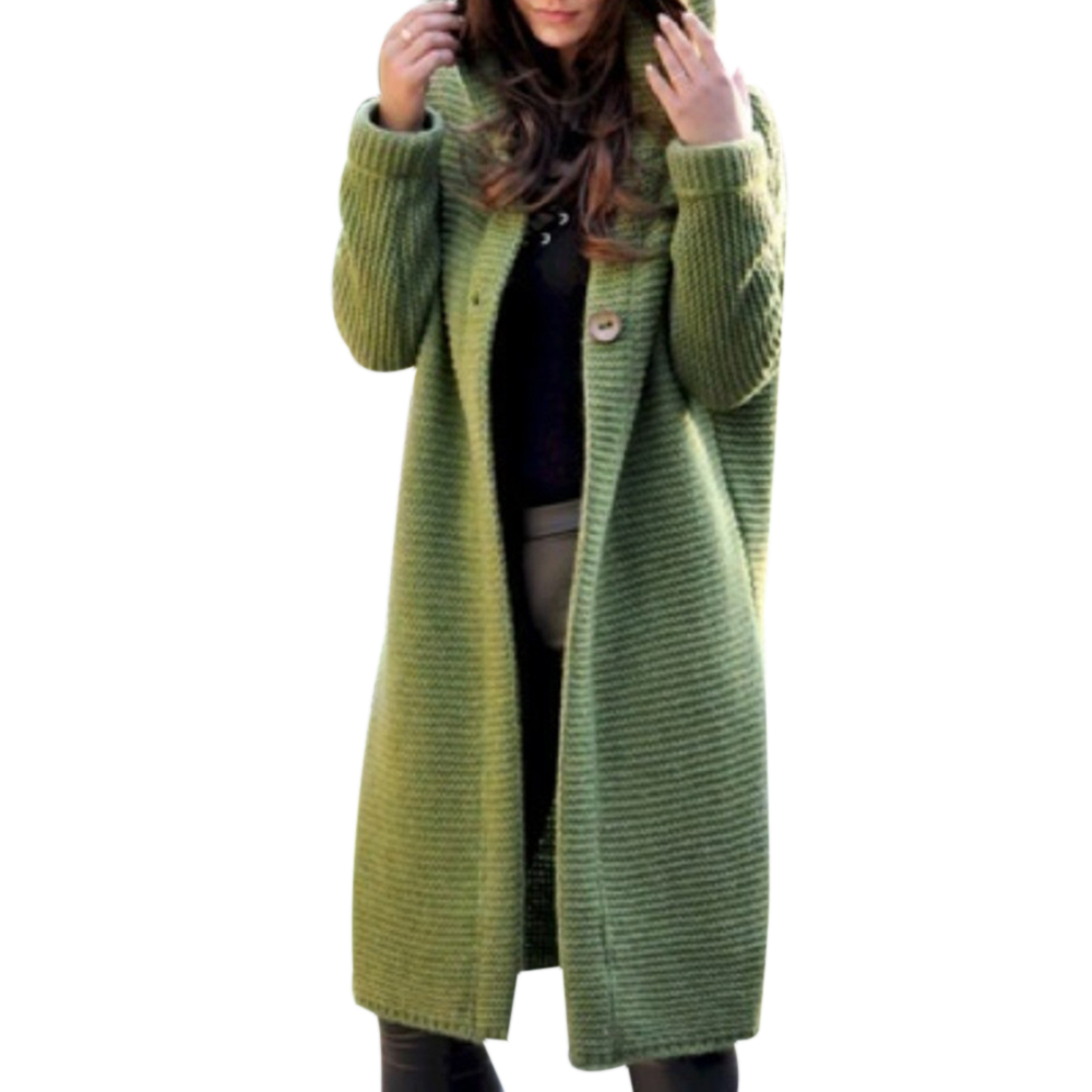 Hooded Sweater Cardigan Coats Streetwear Knitted Long Female Casual Plus-Size Winter