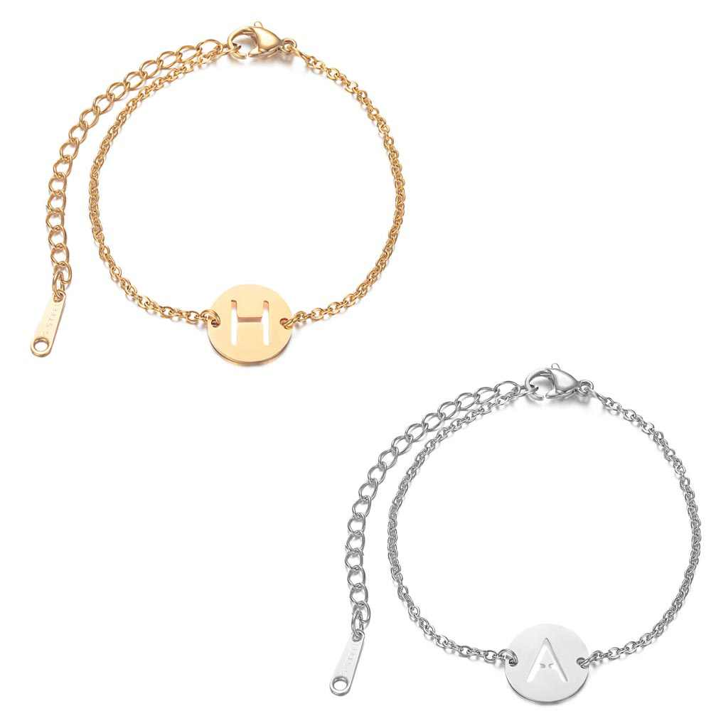2019 Stainless Steel A-Z 26 English Letter Bracelet Gold Silver Tone Adjustable Name Chain Link Bangle Pulseras Mujer Jewelry