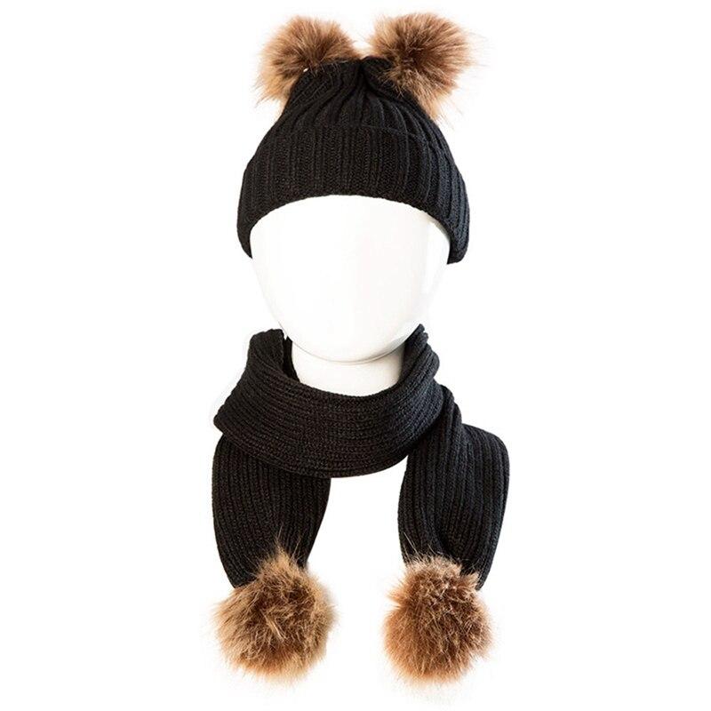 Kids Baby Boy Girl Cute Pom Hat Winter Warm Crochet Knit Bobble Beanie-Cap US