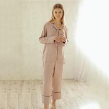 Хлопковая шелковая пижама Женская Осенняя Высококачественная