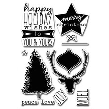 Eastshape  Antlers Christmas Tree Festive Clear Stamps and Metal Cutting Dies Scrapbooking for Craft Set Embossing Stencil