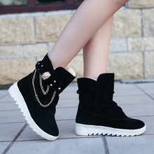 Black New Women Casual Winter warm snow boots women Comfort Round Toe Bow Slip on flats Mid-Calf Boots mujer zapatos