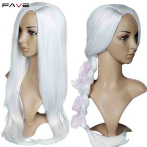 Image 5 - FAVE White Black Colorful Straight Heat Resistant Synthetic Wigs Costume Play For Black White Women Halloween Christmas Party