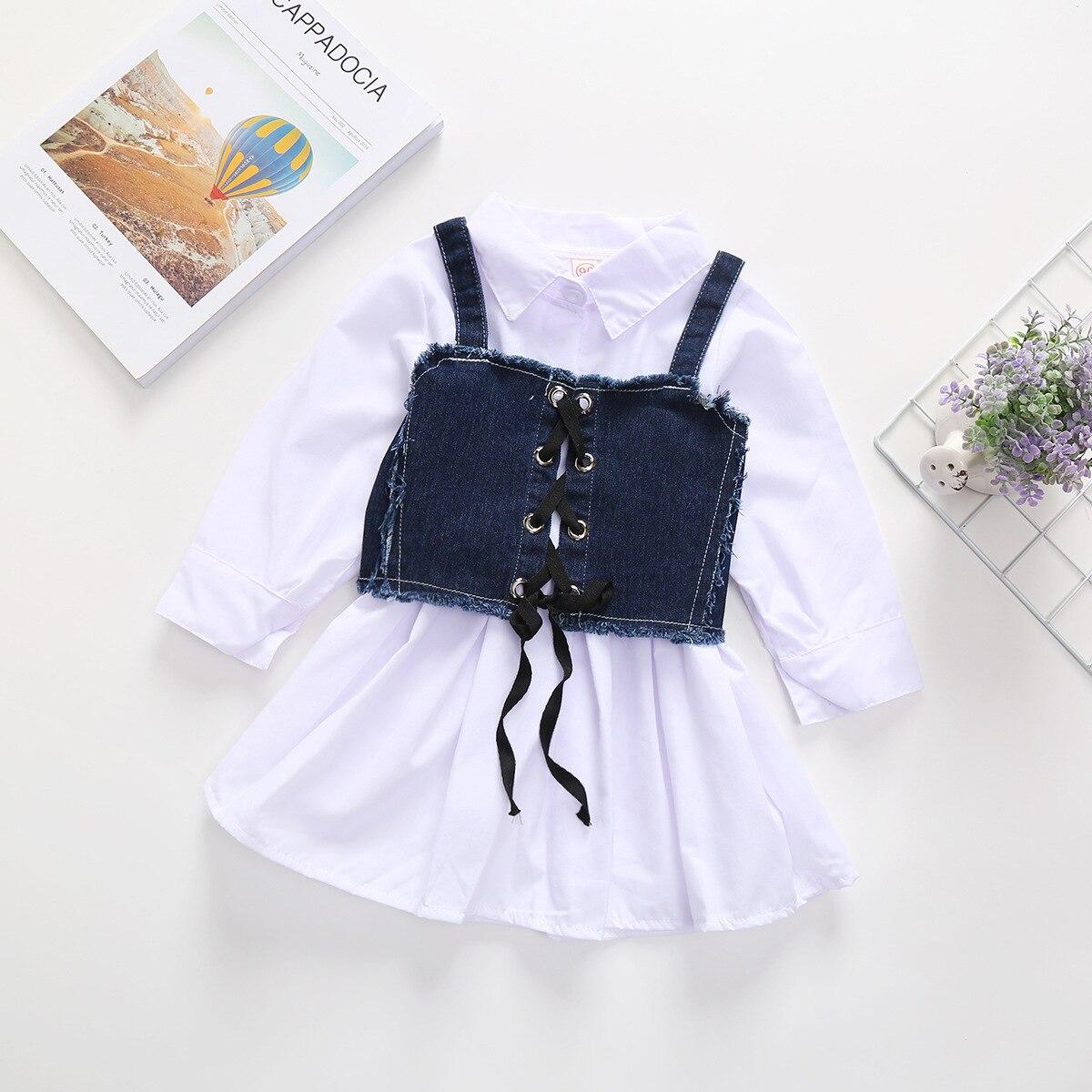 Girls Solid Color Fold-down Collar Long-Sleeve Shirt Dress L3.31 5