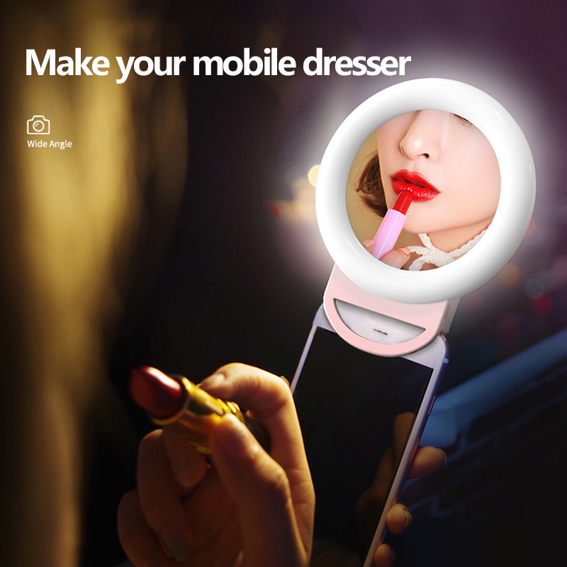 Mobile Phone Selfie Ring Light LED Ring Flash Light with Clip For iPhone 11 pro max 7 8 plus Xiaomi Phone Selfie Ring Fill Light