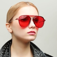 2020 Lady UV400 Oversized Red Vintage Shades Round Sunglasses Women For Protect