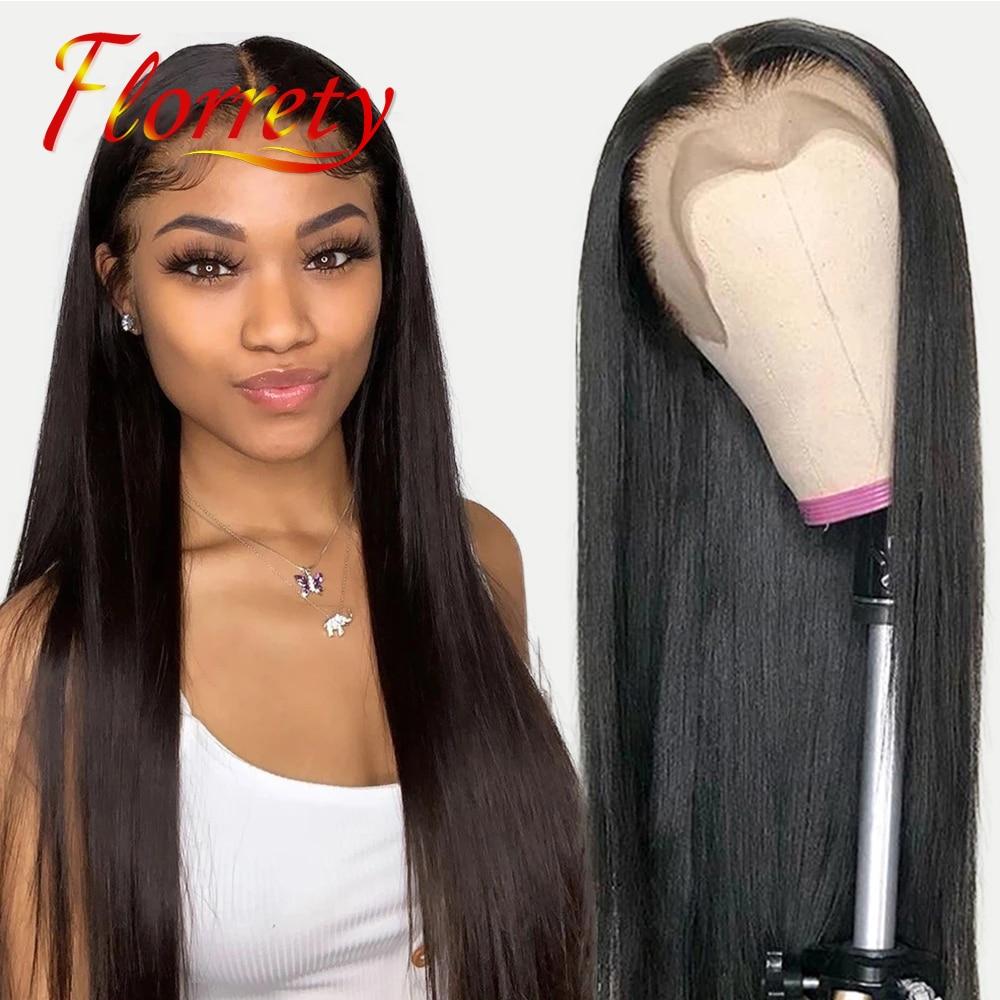 13x4 28 Polegada osso reta peruca dianteira do laço pré arrancado cabelo humano brasileiro lacefront laço frontal perucas encerramento para preto