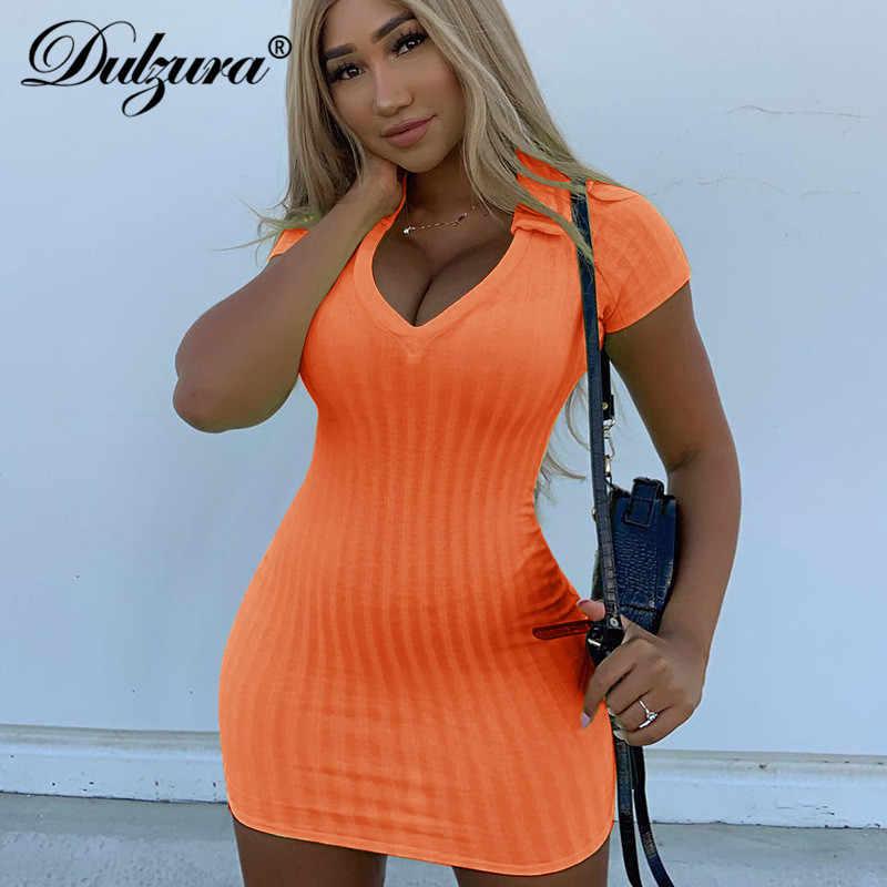 Dulzura 2019 летнее женское обтягивающее платье мини праздничная одежда сексуальные вечерние уличная одежда большого размера элегантная офисная неоновая полоса