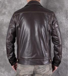 Image 4 - Ücretsiz shipping.2020 yeni erkek slim hakiki deri ceket, klasik 507 tarzı koyun derisi ceket, rahat deri ceket, moda