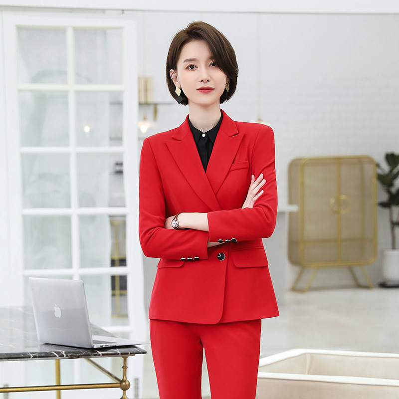 Women's Suit Suit Large Size Professional West Decoration Body Commuter Trousers 2019 New Autumn Women's Two-piece Suit