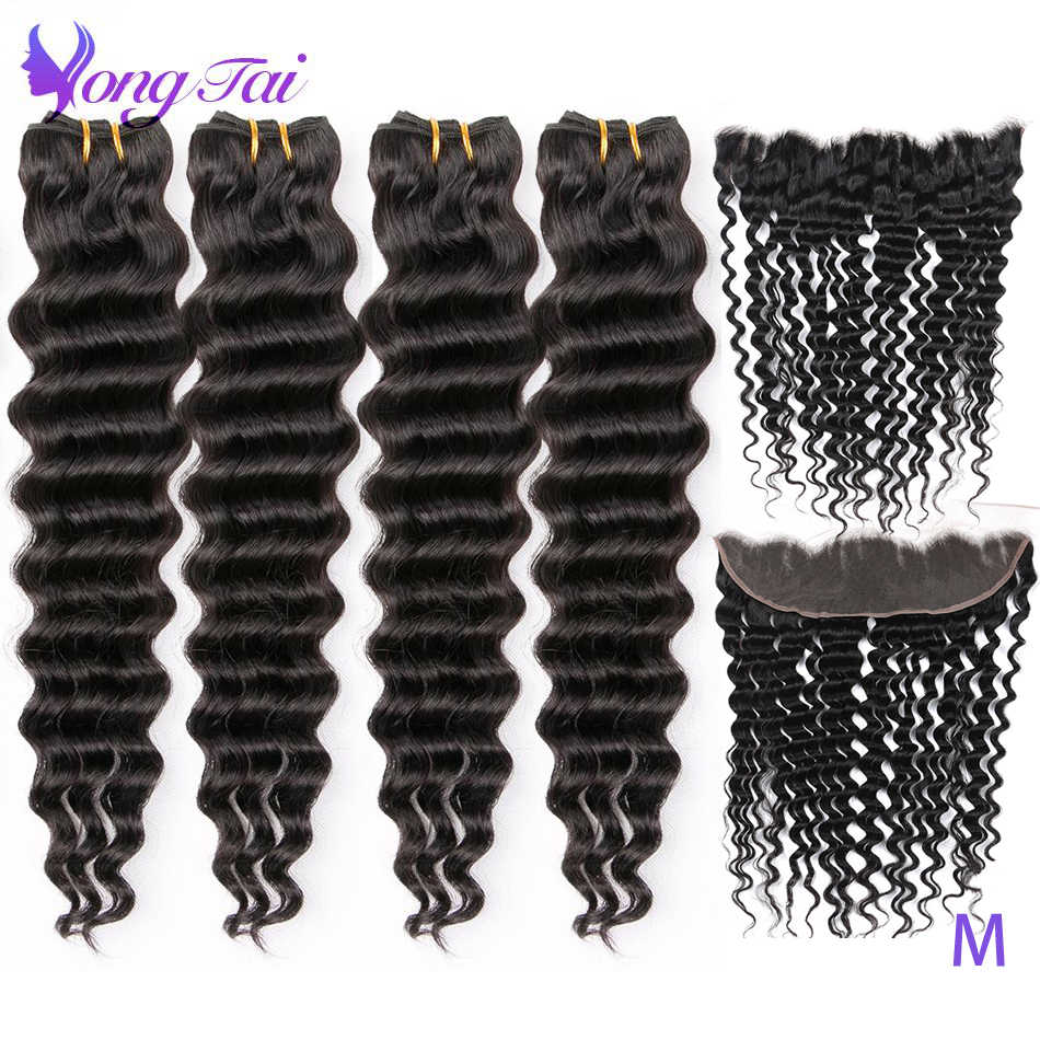 Yuyongtai Hair Deep Wave Bundles With Front Brazilian Hair Weave Medium Ratio Non-Remy Human Hair Free shipping