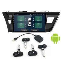 Sistema de Monitoreo de presión de neumáticos USB Android TPMS pantalla 4 sensores externos internos alarma de presión de neumáticos de navegación Android